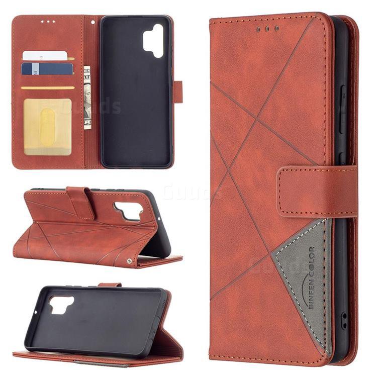 Binfen Color BF05 Prismatic Slim Wallet Flip Cover for Samsung Galaxy A32 4G - Brown