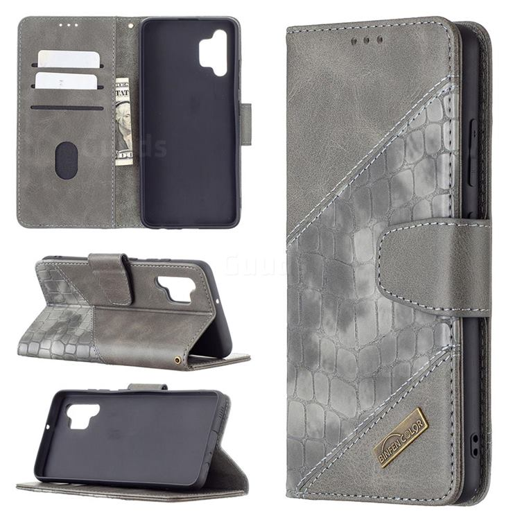 BinfenColor BF04 Color Block Stitching Crocodile Leather Case Cover for Samsung Galaxy A32 4G - Gray