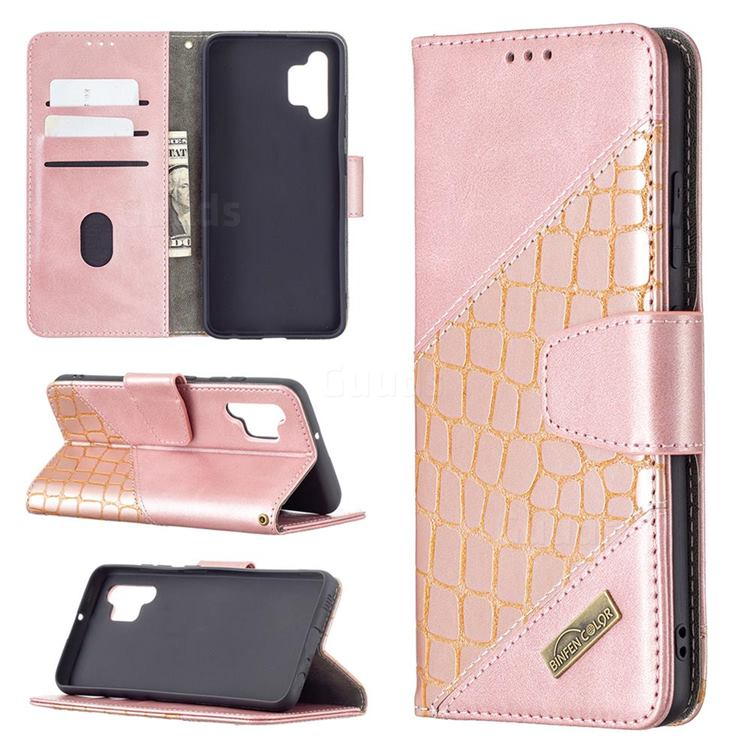 BinfenColor BF04 Color Block Stitching Crocodile Leather Case Cover for Samsung Galaxy A32 4G - Rose Gold