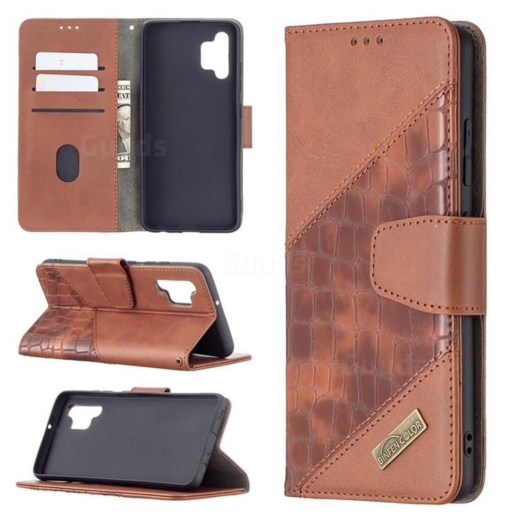BinfenColor BF04 Color Block Stitching Crocodile Leather Case Cover for Samsung Galaxy A32 4G - Brown