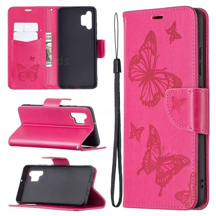 Embossing Double Butterfly Leather Wallet Case for Samsung Galaxy A32 4G - Red