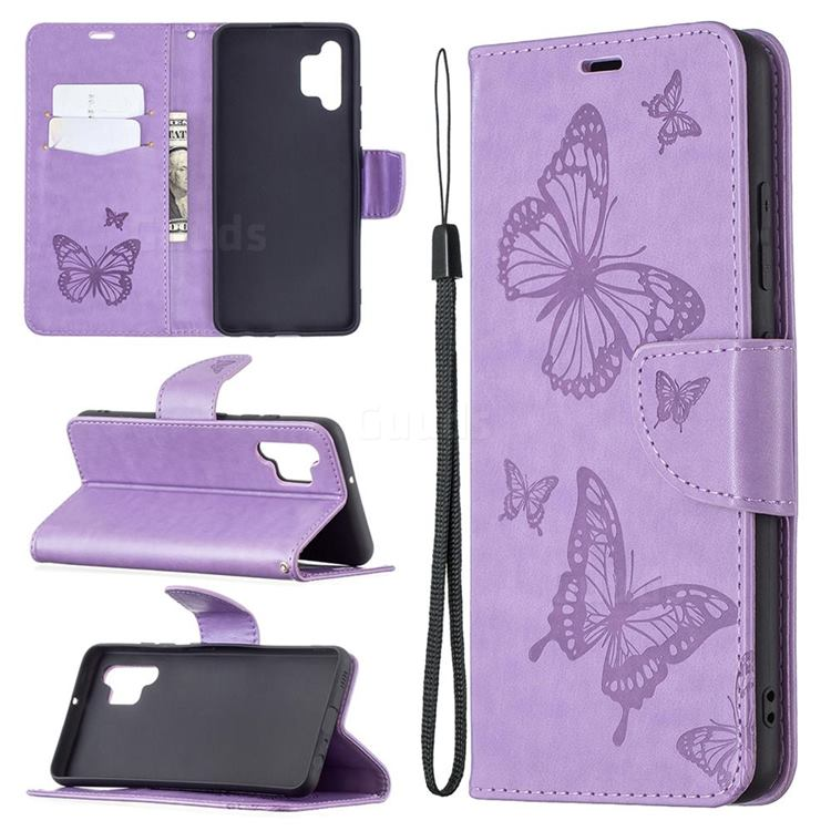 Embossing Double Butterfly Leather Wallet Case for Samsung Galaxy A32 4G - Purple