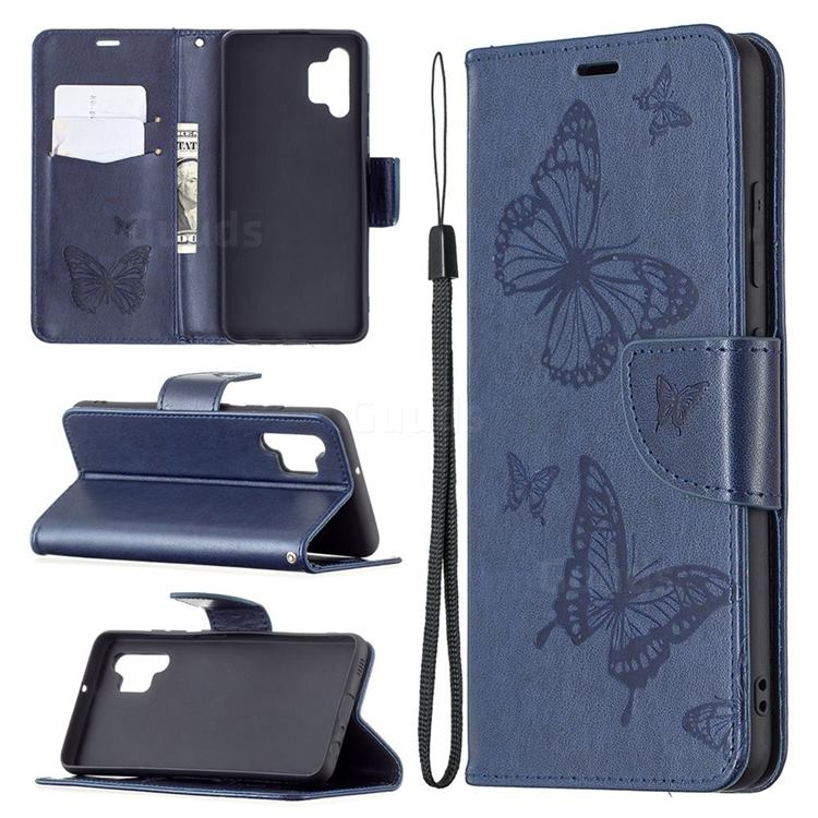 Embossing Double Butterfly Leather Wallet Case for Samsung Galaxy A32 4G - Dark Blue