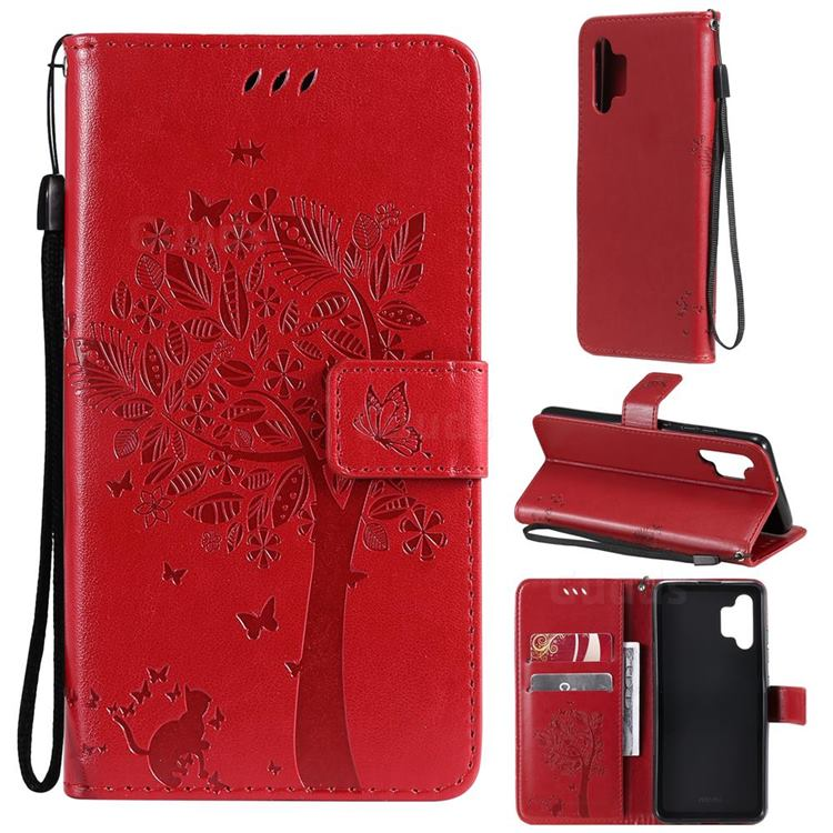 Embossing Butterfly Tree Leather Wallet Case for Samsung Galaxy A32 4G - Red