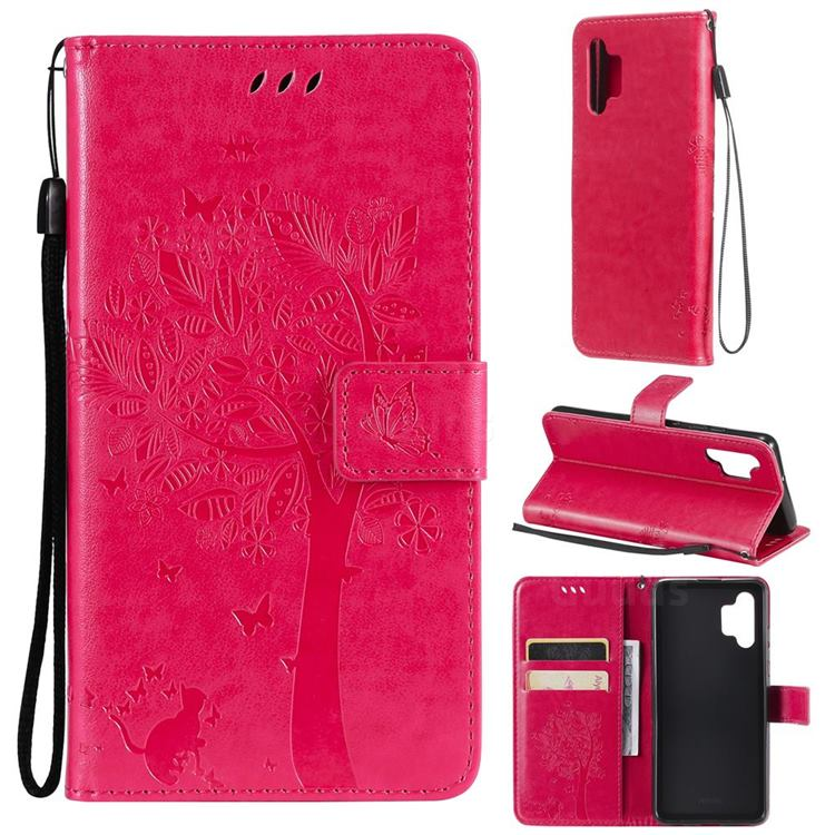 Embossing Butterfly Tree Leather Wallet Case for Samsung Galaxy A32 4G - Rose