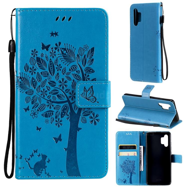 Embossing Butterfly Tree Leather Wallet Case for Samsung Galaxy A32 4G - Blue