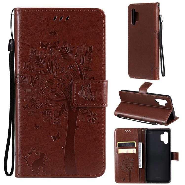 Embossing Butterfly Tree Leather Wallet Case for Samsung Galaxy A32 4G - Coffee