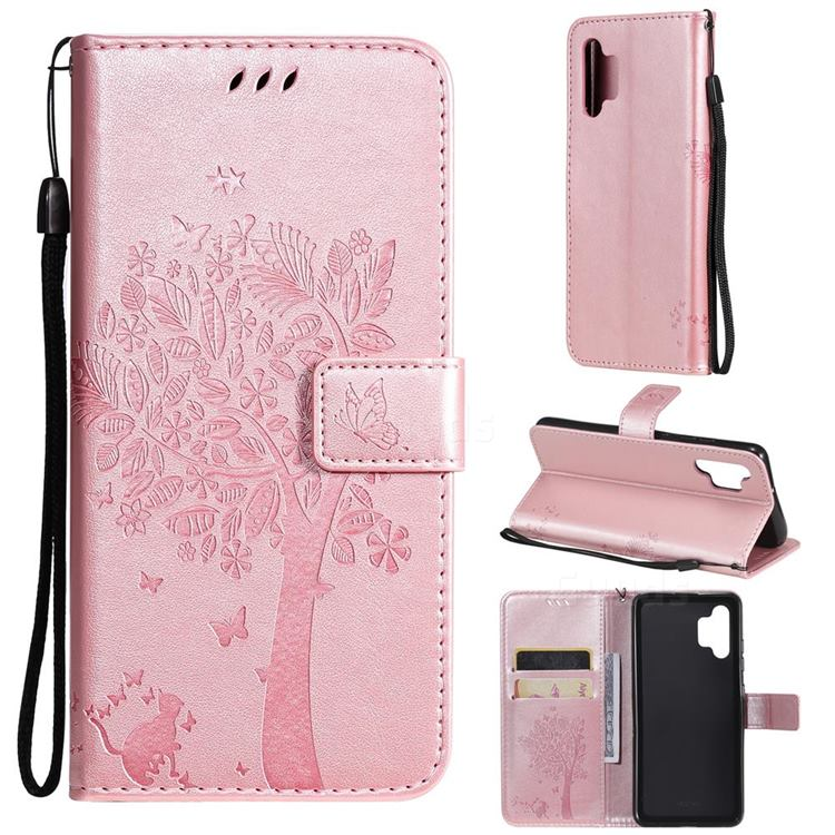 Embossing Butterfly Tree Leather Wallet Case for Samsung Galaxy A32 4G - Rose Pink