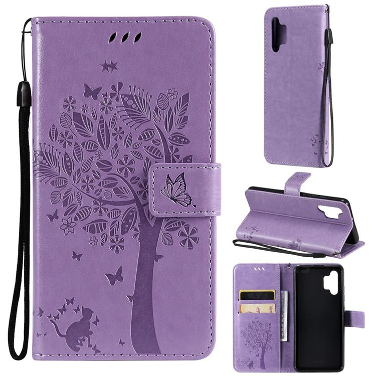 Embossing Butterfly Tree Leather Wallet Case for Samsung Galaxy A32 4G - Violet