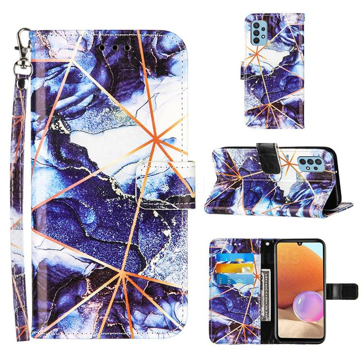 Starry Blue Stitching Color Marble Leather Wallet Case for Samsung Galaxy A32 4G