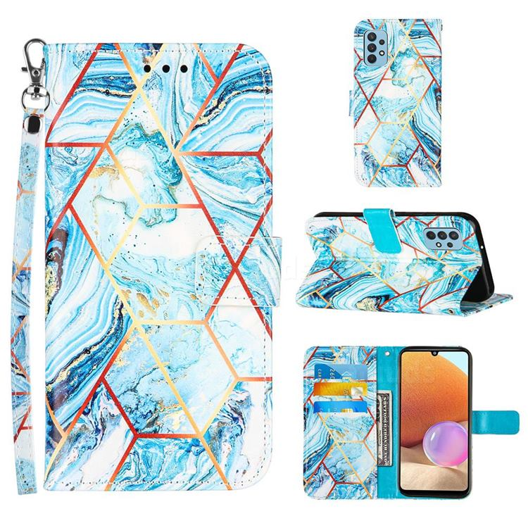 Lake Blue Stitching Color Marble Leather Wallet Case for Samsung Galaxy A32 4G