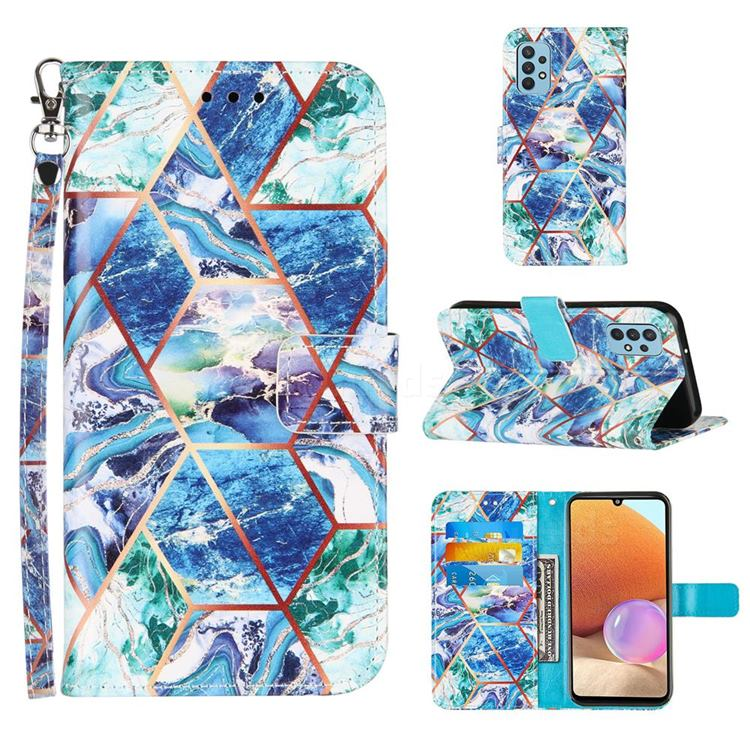 Green and Blue Stitching Color Marble Leather Wallet Case for Samsung Galaxy A32 4G