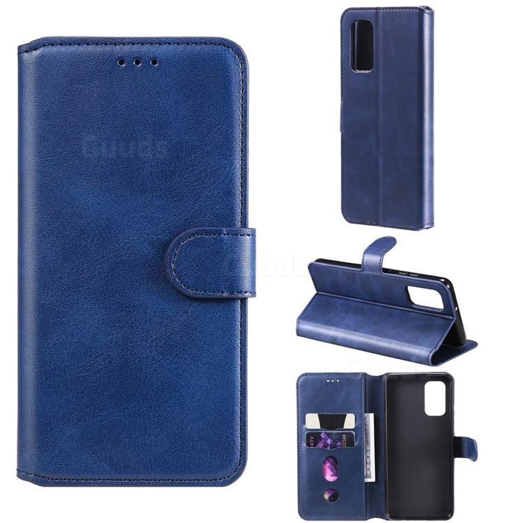 Retro Calf Matte Leather Wallet Phone Case for Samsung Galaxy A32 4G - Blue
