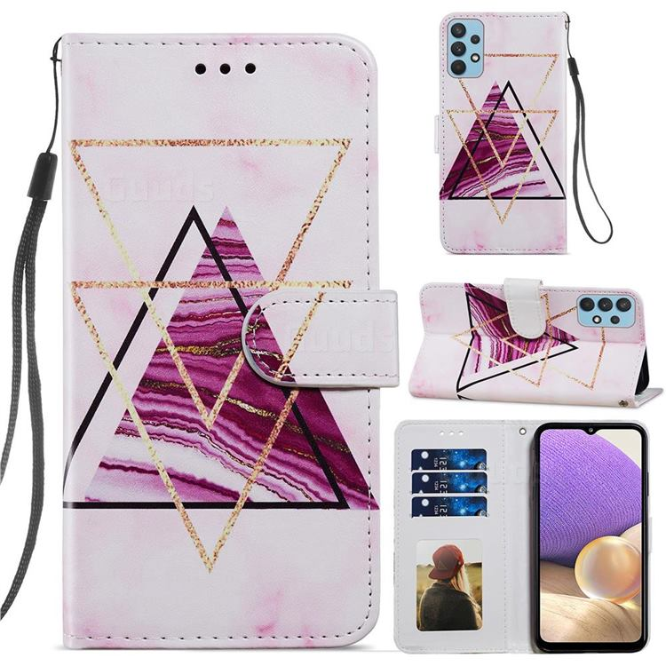 Three-color Marble Smooth Leather Phone Wallet Case for Samsung Galaxy A32 4G