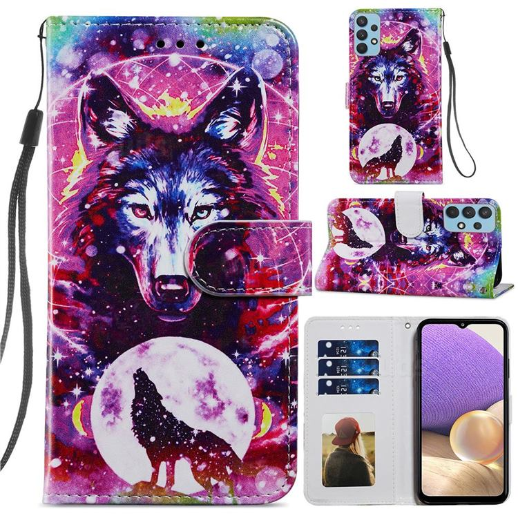 Wolf Totem Smooth Leather Phone Wallet Case for Samsung Galaxy A32 4G