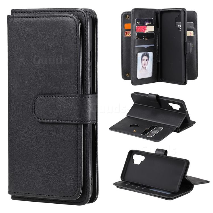 Multi-function Ten Card Slots and Photo Frame PU Leather Wallet Phone Case Cover for Samsung Galaxy A32 4G - Black