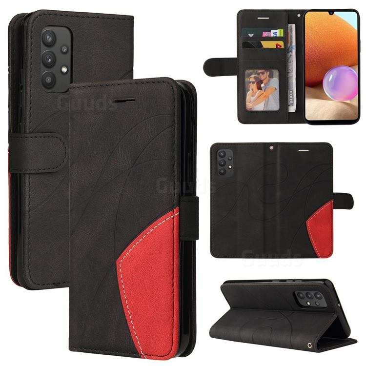 Luxury Two-color Stitching Leather Wallet Case Cover for Samsung Galaxy A32 4G - Black