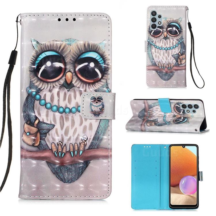 Sweet Gray Owl 3D Painted Leather Wallet Case for Samsung Galaxy A32 4G
