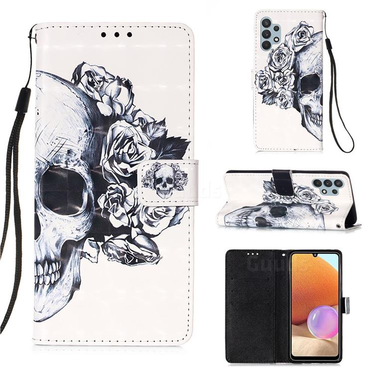 Skull Flower 3D Painted Leather Wallet Case for Samsung Galaxy A32 4G