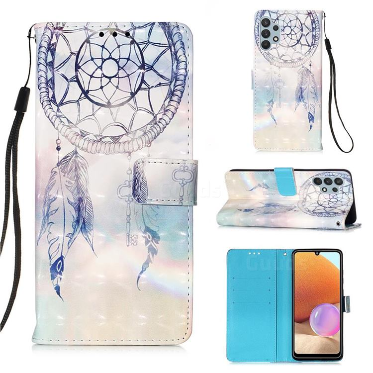 Fantasy Campanula 3D Painted Leather Wallet Case for Samsung Galaxy A32 4G