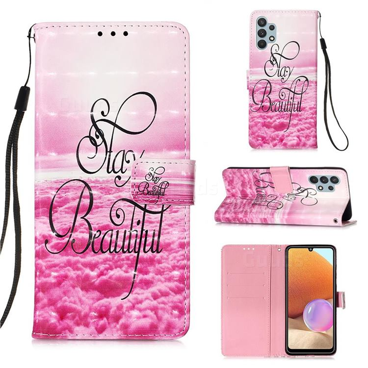 Beautiful 3D Painted Leather Wallet Case for Samsung Galaxy A32 4G