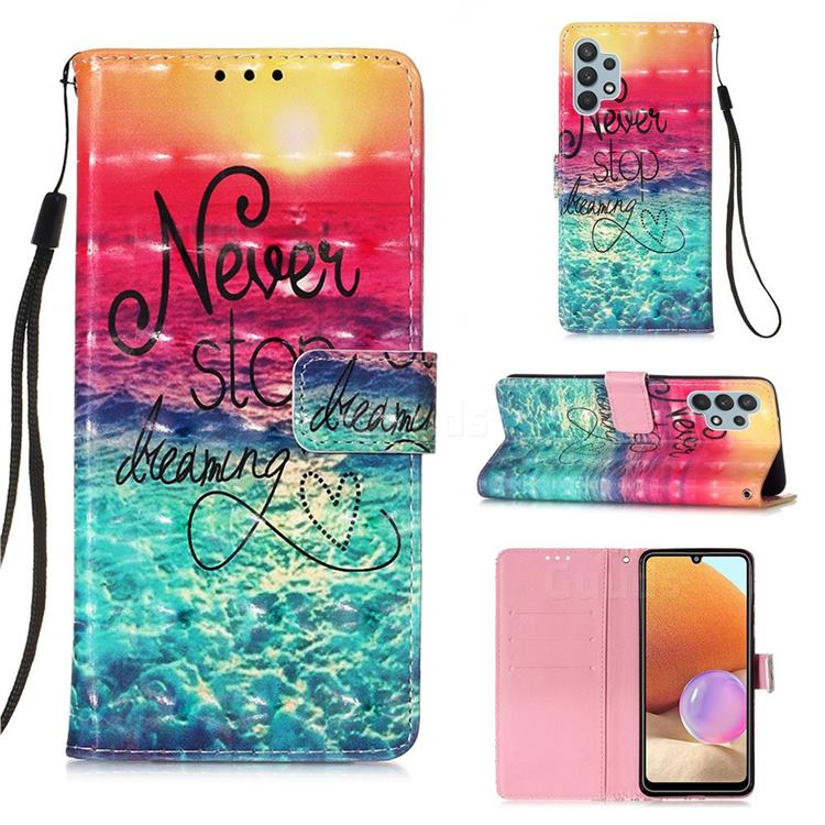 Colorful Dream Catcher 3D Painted Leather Wallet Case for Samsung Galaxy A32 4G
