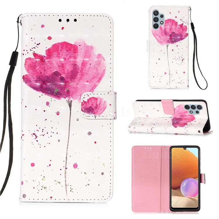 Watercolor 3D Painted Leather Wallet Case for Samsung Galaxy A32 4G