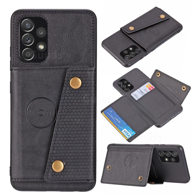 Retro Multifunction Card Slots Stand Leather Coated Phone Back Cover for Samsung Galaxy A32 4G - Black