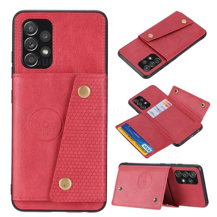 Retro Multifunction Card Slots Stand Leather Coated Phone Back Cover for Samsung Galaxy A32 4G - Red