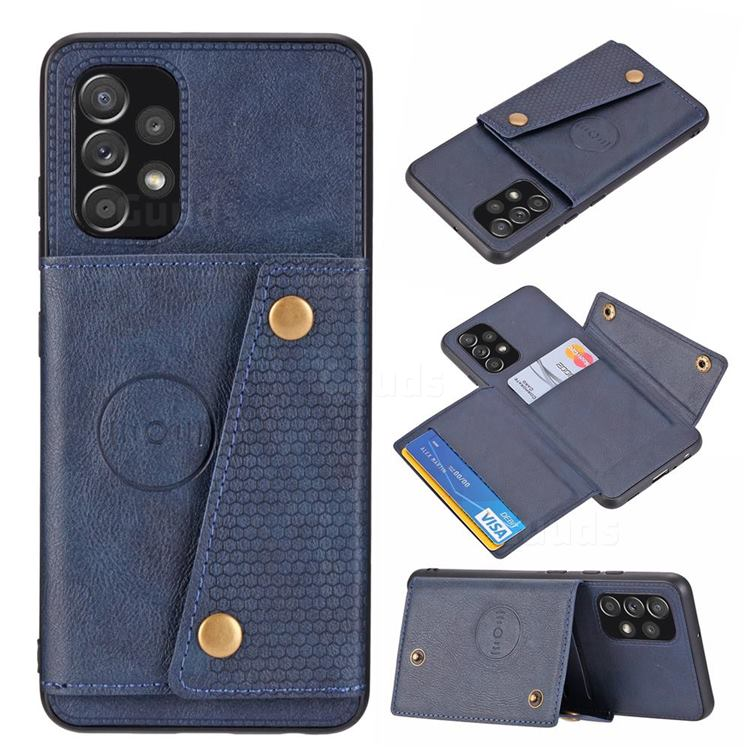 Retro Multifunction Card Slots Stand Leather Coated Phone Back Cover for Samsung Galaxy A32 4G - Blue