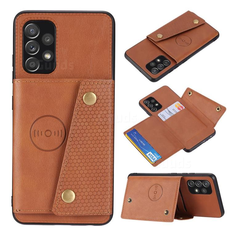 Retro Multifunction Card Slots Stand Leather Coated Phone Back Cover for Samsung Galaxy A32 4G - Brown