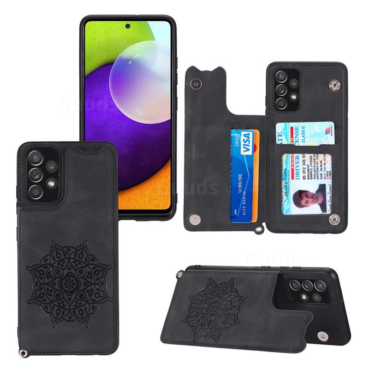 Luxury Mandala Multi-function Magnetic Card Slots Stand Leather Back Cover for Samsung Galaxy A32 4G - Black