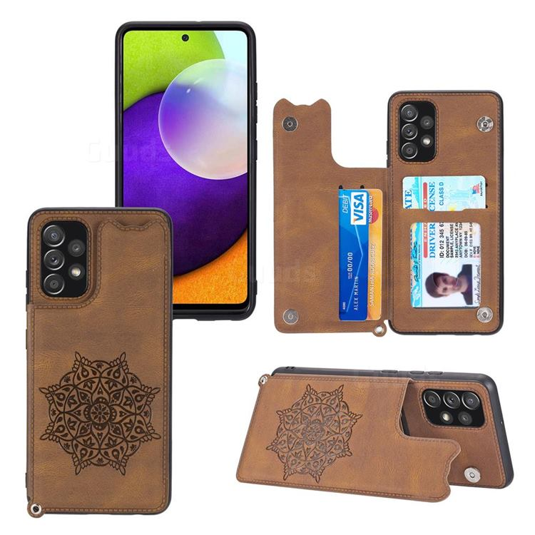 Luxury Mandala Multi-function Magnetic Card Slots Stand Leather Back Cover for Samsung Galaxy A32 4G - Brown
