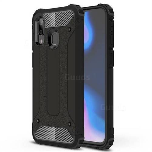 King Kong Armor Premium Shockproof Dual Layer Rugged Hard Cover for Samsung Galaxy A40 - Black Gold