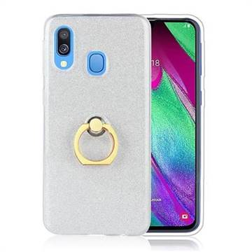 Luxury Soft TPU Glitter Back Ring Cover with 360 Rotate Finger Holder Buckle for Samsung Galaxy A40 - White