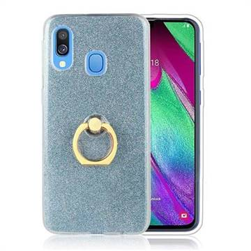 Luxury Soft TPU Glitter Back Ring Cover with 360 Rotate Finger Holder Buckle for Samsung Galaxy A40 - Blue