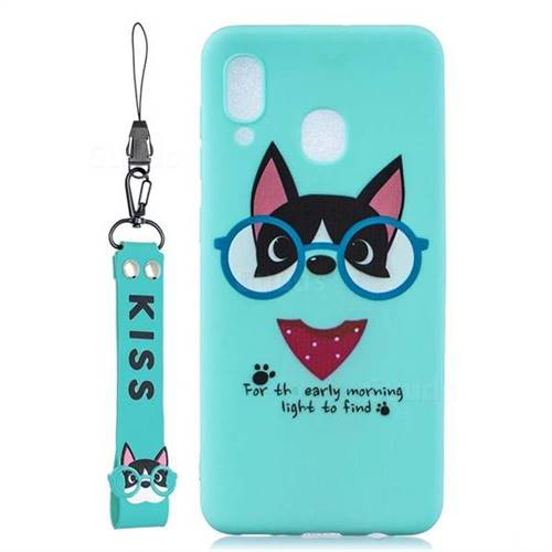 Green Glasses Dog Soft Kiss Candy Hand Strap Silicone Case for Samsung Galaxy A40