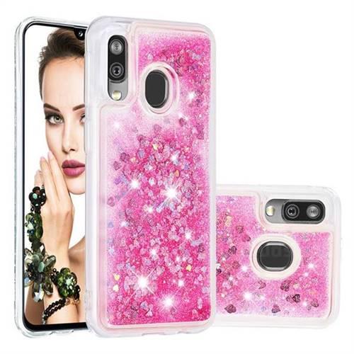 Dynamic Liquid Glitter Quicksand Sequins TPU Phone Case for Samsung Galaxy A40 - Rose