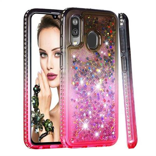 Diamond Frame Liquid Glitter Quicksand Sequins Phone Case for Samsung Galaxy A40 - Gray Pink