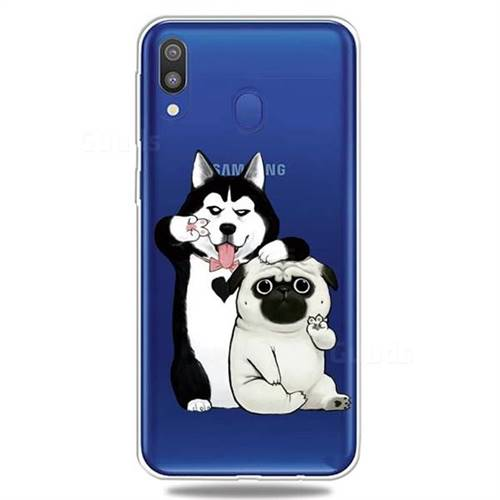 Selfie Dog Clear Varnish Soft Phone Back Cover for Samsung Galaxy A40