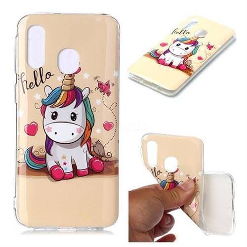 Hello Unicorn Soft TPU Cell Phone Back Cover for Samsung Galaxy A40