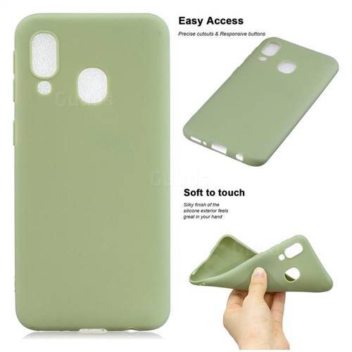 Soft Matte Silicone Phone Cover for Samsung Galaxy A40 - Bean Green