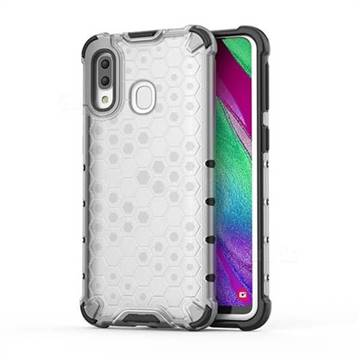 Honeycomb TPU + PC Hybrid Armor Shockproof Case Cover for Samsung Galaxy A40 - Transparent