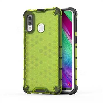 Honeycomb TPU + PC Hybrid Armor Shockproof Case Cover for Samsung Galaxy A40 - Green