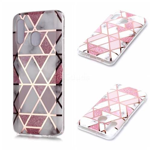 Pink Rhombus Galvanized Rose Gold Marble Phone Back Cover for Samsung Galaxy A40