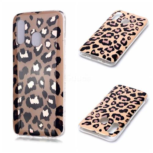 Leopard Galvanized Rose Gold Marble Phone Back Cover for Samsung Galaxy A40