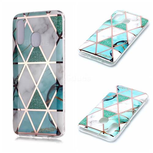 Green White Galvanized Rose Gold Marble Phone Back Cover for Samsung Galaxy A40