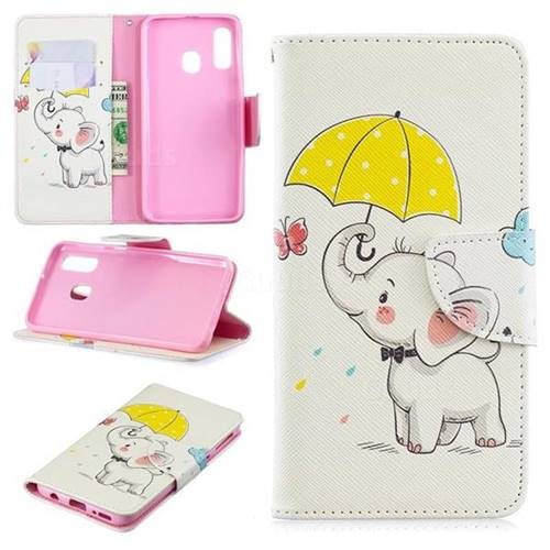 Umbrella Elephant Leather Wallet Case for Samsung Galaxy A40