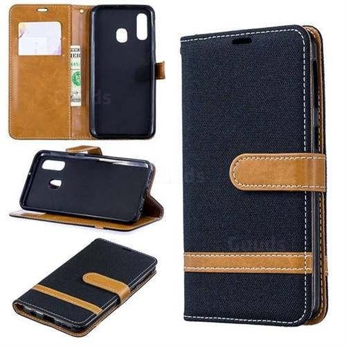Jeans Cowboy Denim Leather Wallet Case for Samsung Galaxy A40 - Black