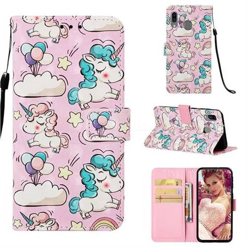 Angel Pony 3D Painted Leather Wallet Case for Samsung Galaxy A40